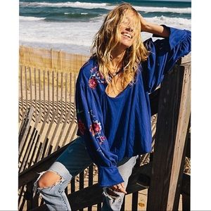 Free People Lita Embroidered Blouse Blue